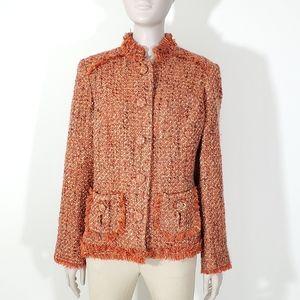 CHICOS 1 Orange Tweed Blazer Button Jacket Pockets
